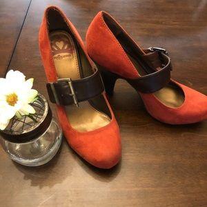 Fergalicious Mary Jane Burnt Orange Suede Heels